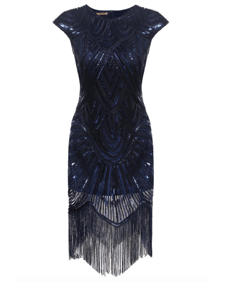 Navy Blue Fringe Dress