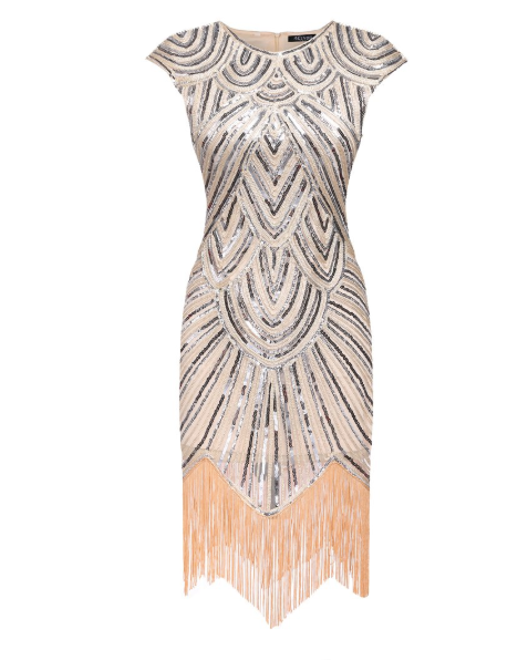 Rose Gold Fringe Flapper Dress
