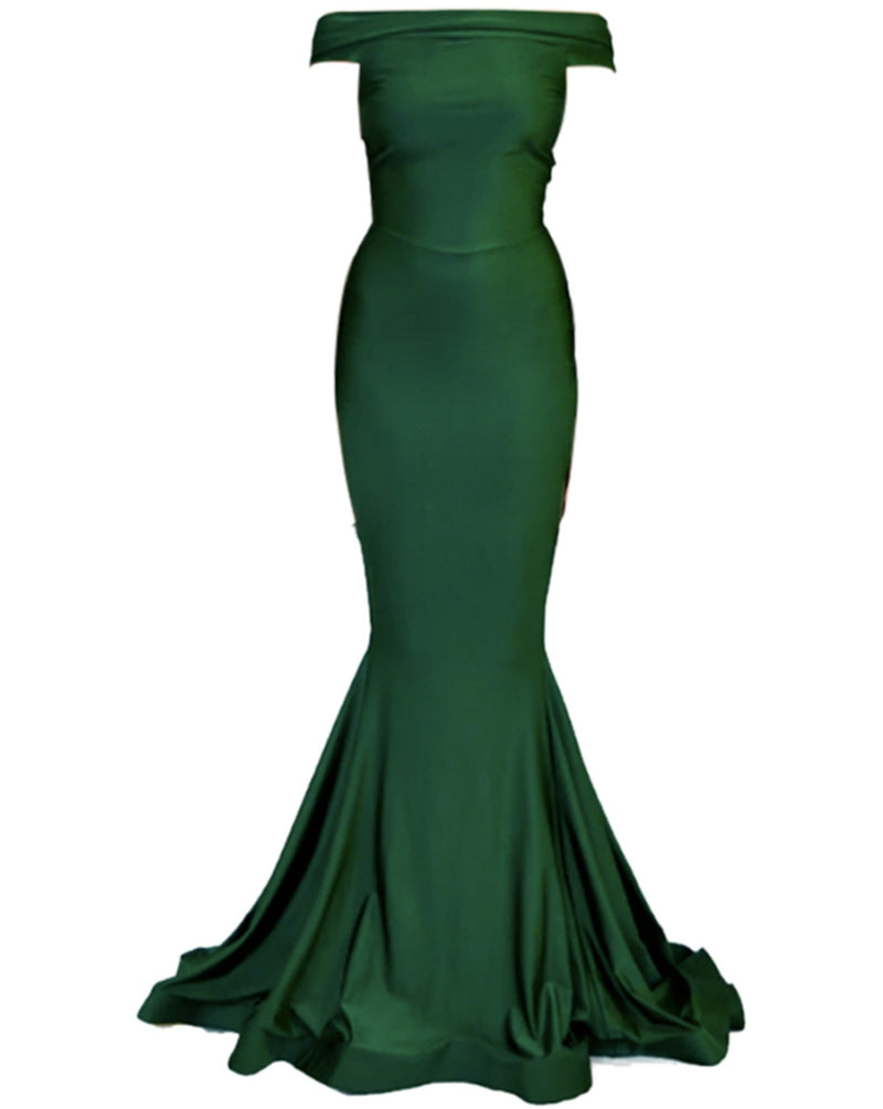 Off-Shoulder Jessica Gown - Green