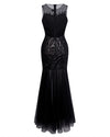 Sheer Sequin Illusion Long Gown - Prive - Covetella Dress Rentals