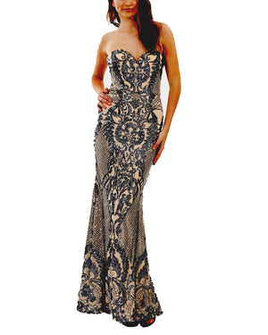 Strapless Sequin Pattern Gown