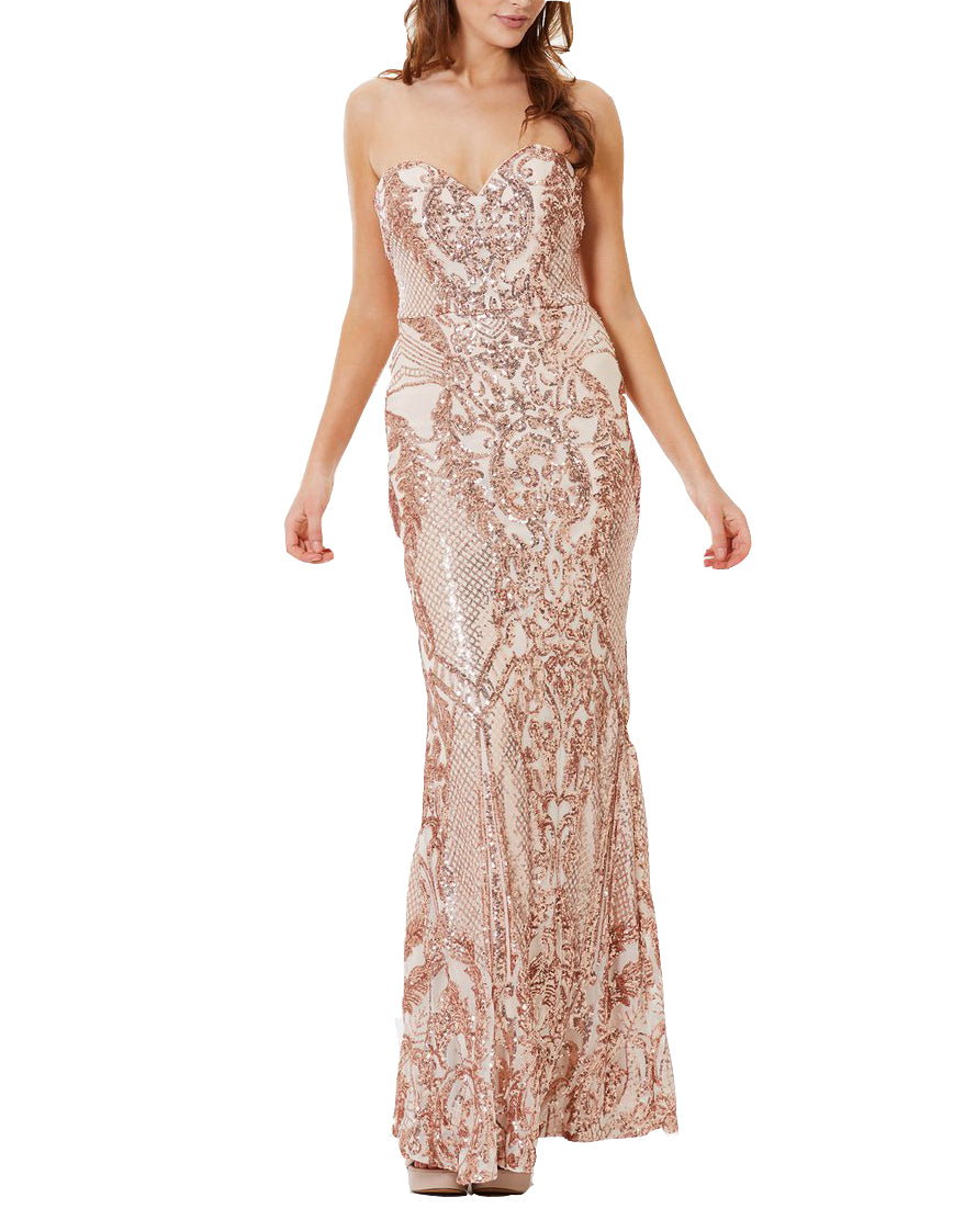 Strapless Sequin Column Gown