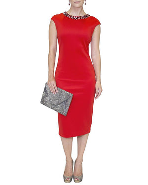 Embellished Collar Pencil Dress - Ted Baker - Covetella Dress Rentals