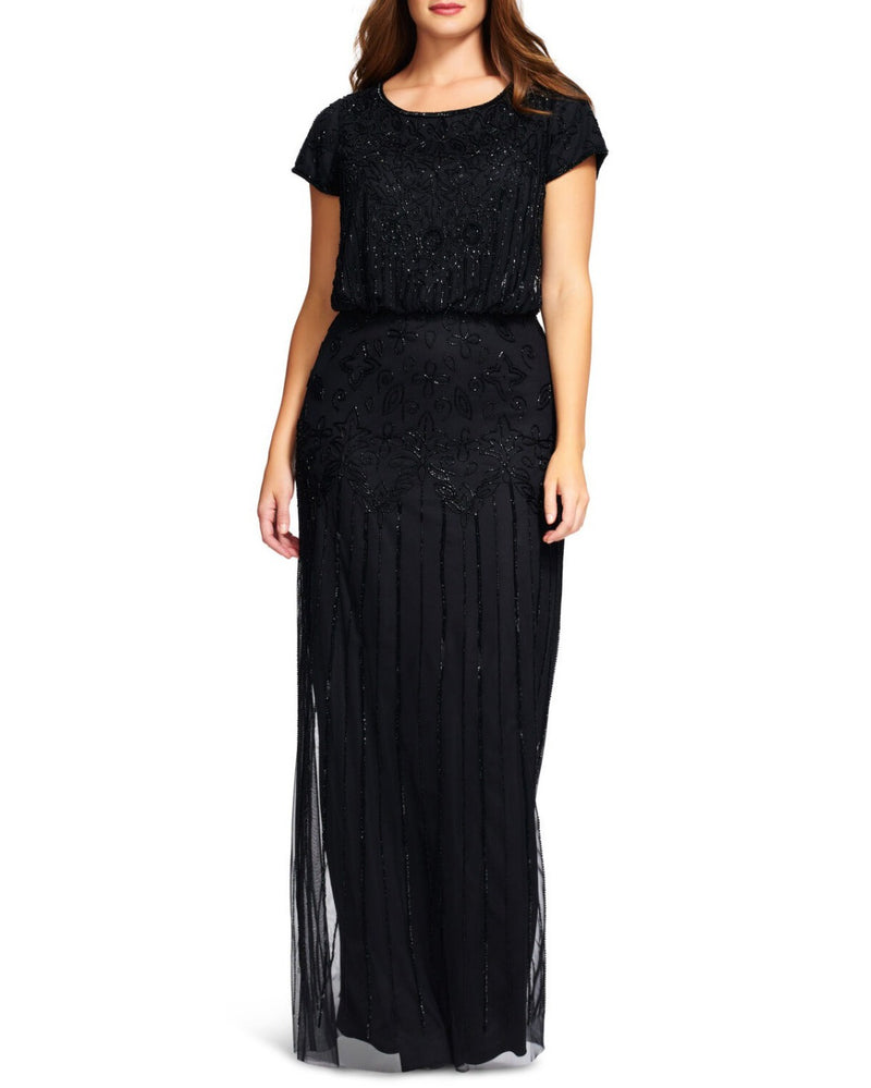 Black Art Deco Sequin Gown