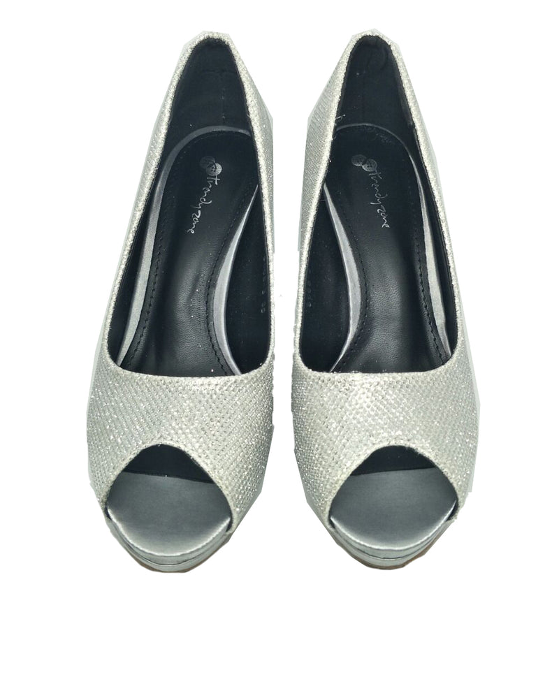 Peep Toe Heels Silver - Covetella - Covetella Dress Rentals