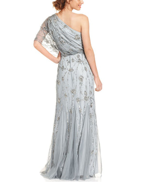 Sequin Details Sheer Shoulder Gown