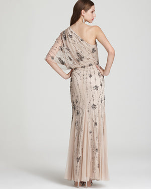 Sequin Details Sheer Shoulder Gown Champagne