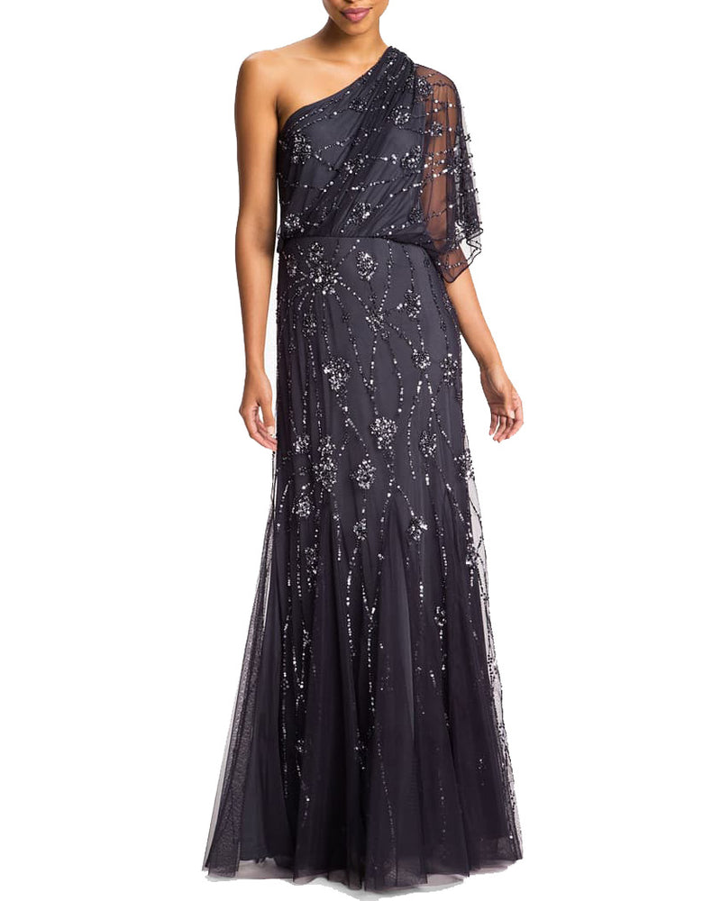 Sequin Details Sheer Shoulder Gown Grey
