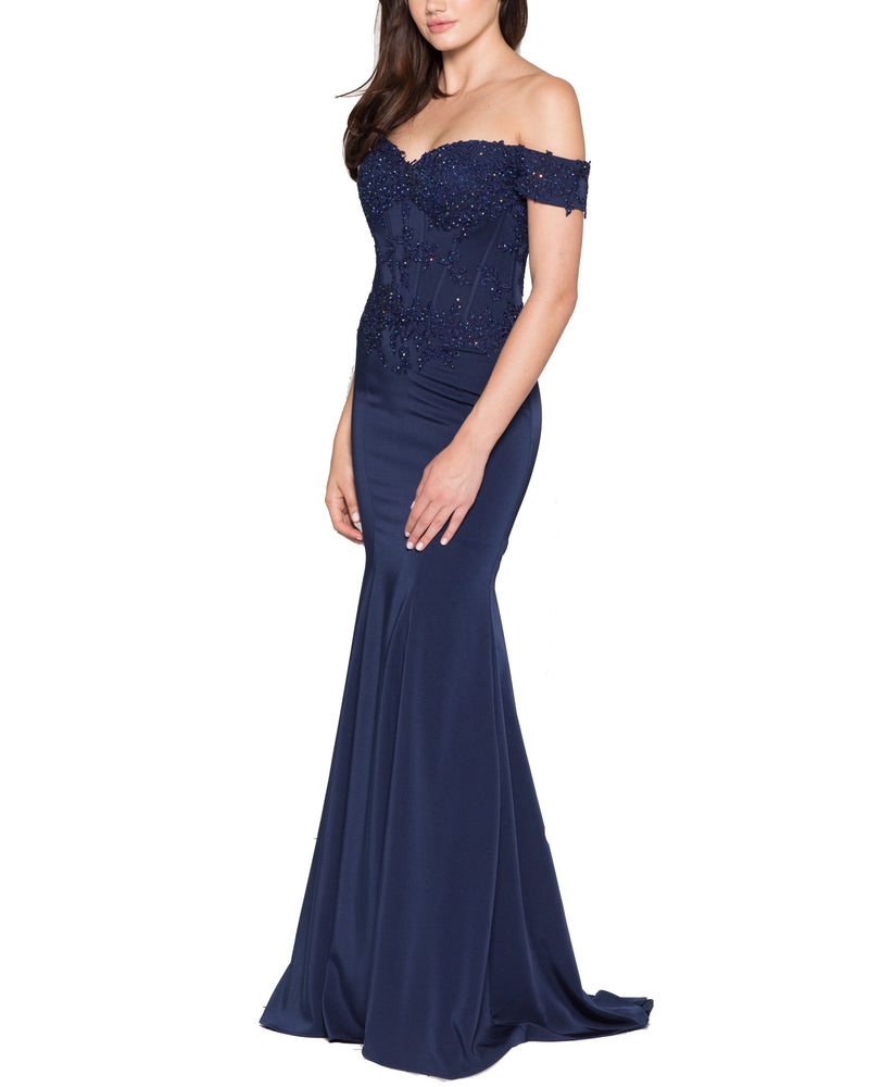 Off-Shoulder Beaded Bodice Gown