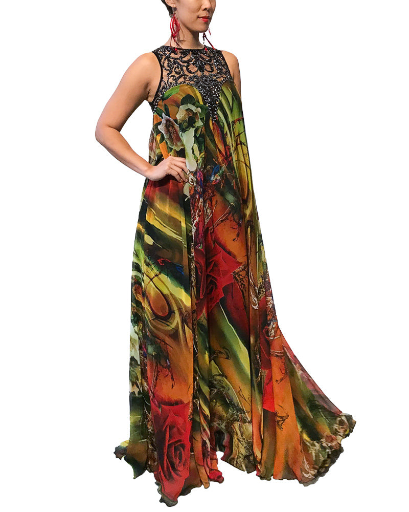 Tropical Embellished Neck Maxi Dress