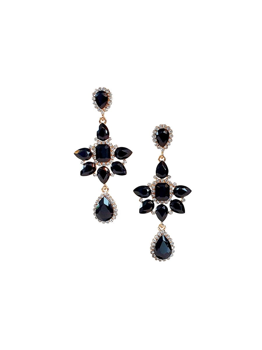 Black Crystal Flower Earrings