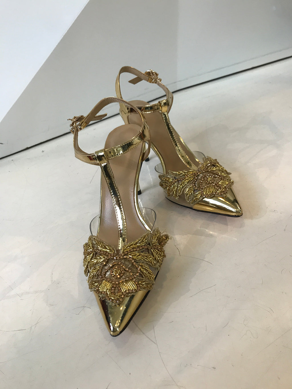 Gold T-Strap Pointed Heels