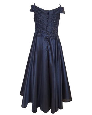 Off Shoulder Navy Blue Ball Gown