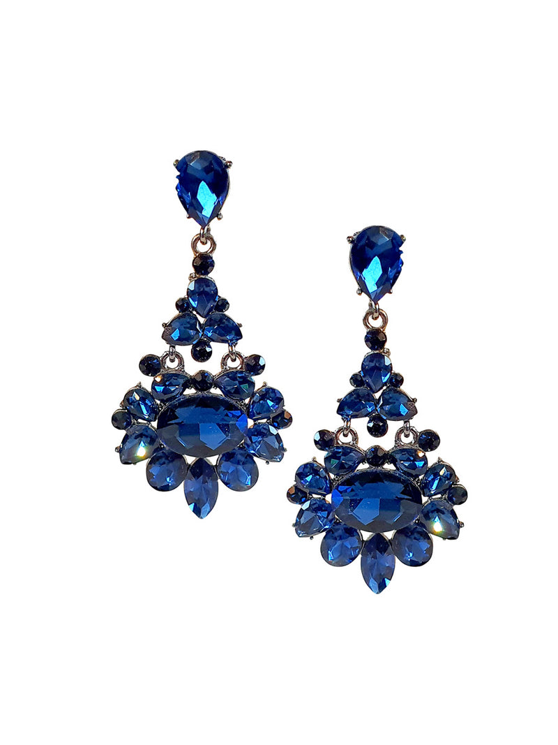 Blue Crystal Long Earrings