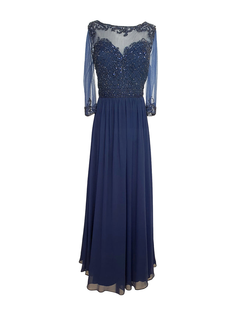 3/4 Sleeve Embellished Chiffon Gown
