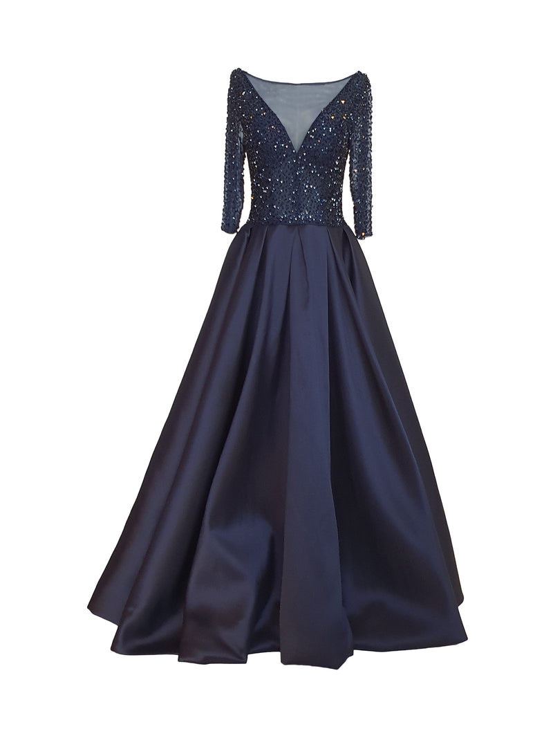Navy Blue Embellished Beaded Ball Gown