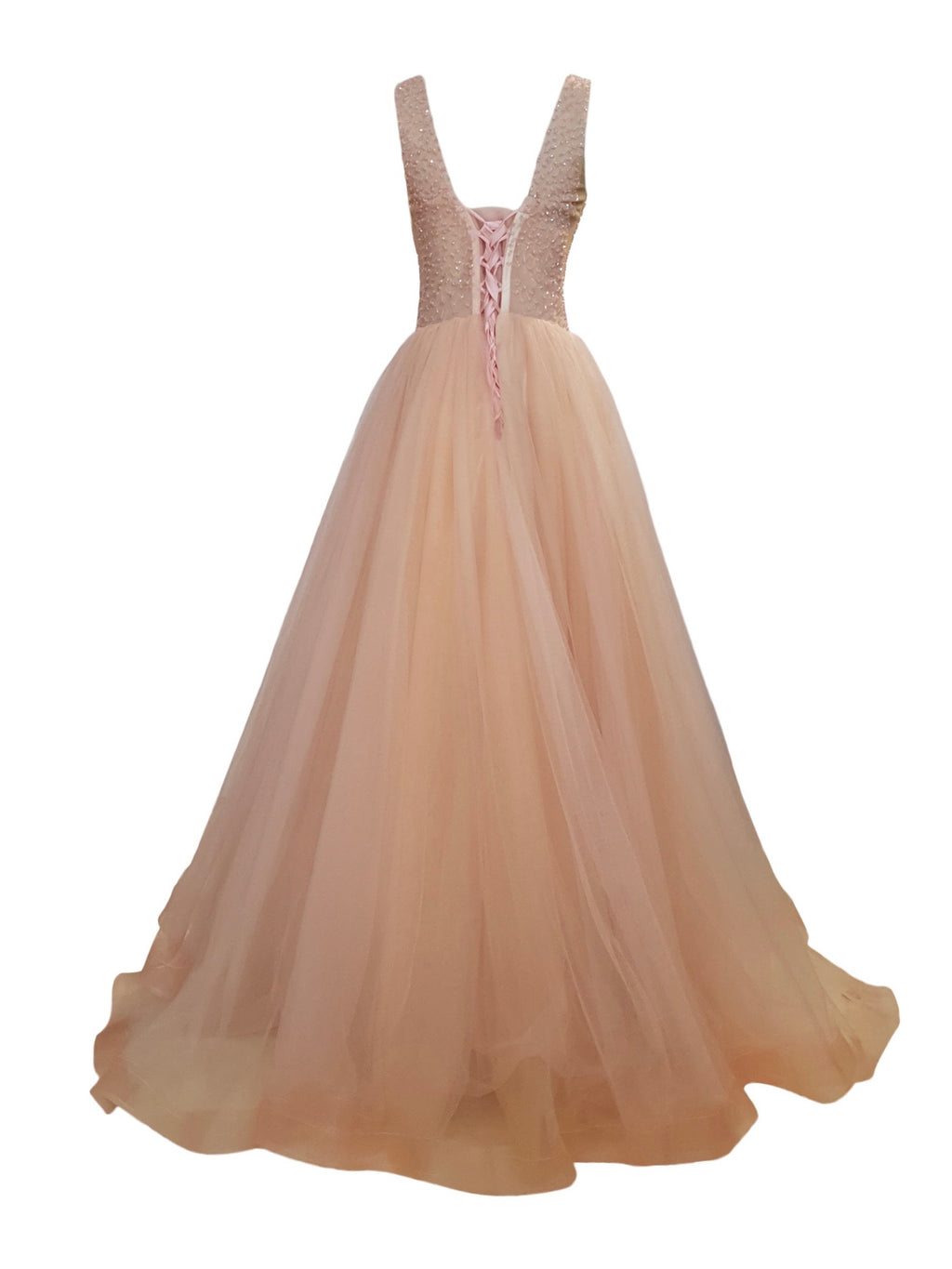 Blush Pink Crystal Beads V-Neck Tulle Gown