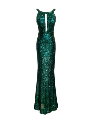 Green Stretch Sequin High Neck Dress