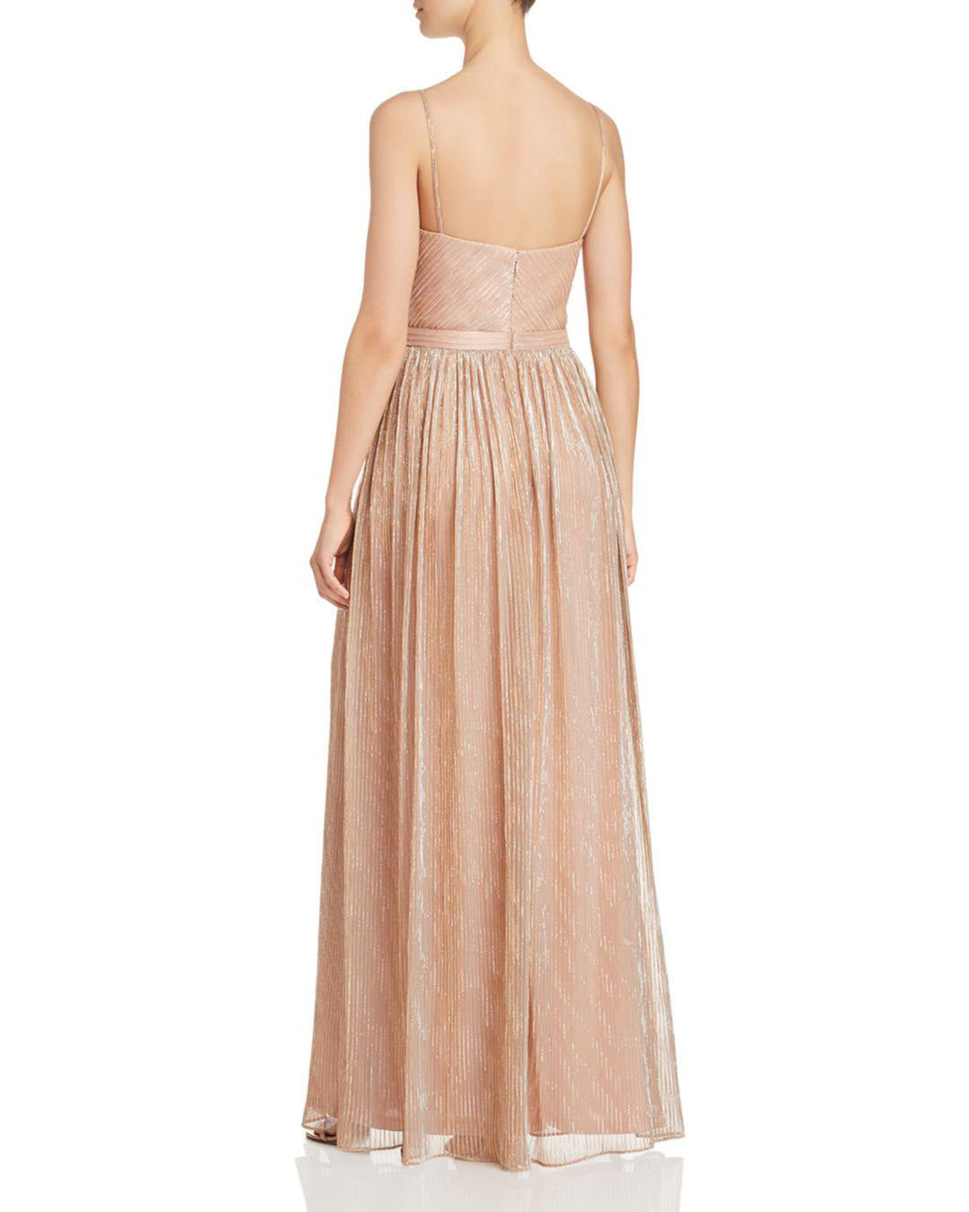 9e6692c51 Front Crossover Metallic Pleated Gown – Covetella