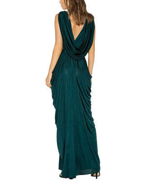 Draped V-Neck Grecian Gown