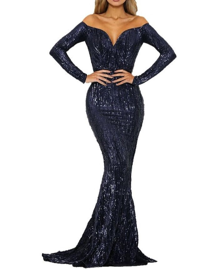 Off Shoulder Sweetheart Full Sleeves Gown - Abyss by Abby - Covetella Dress Rentals
