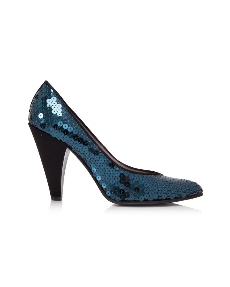 Navy Blue Sequin Heels