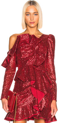 Two Piece Red Sequin Ruffle Set