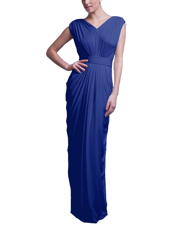 Royal Draped Jersey Dress - Pia Gladys Perey - Covetella Dress Rentals