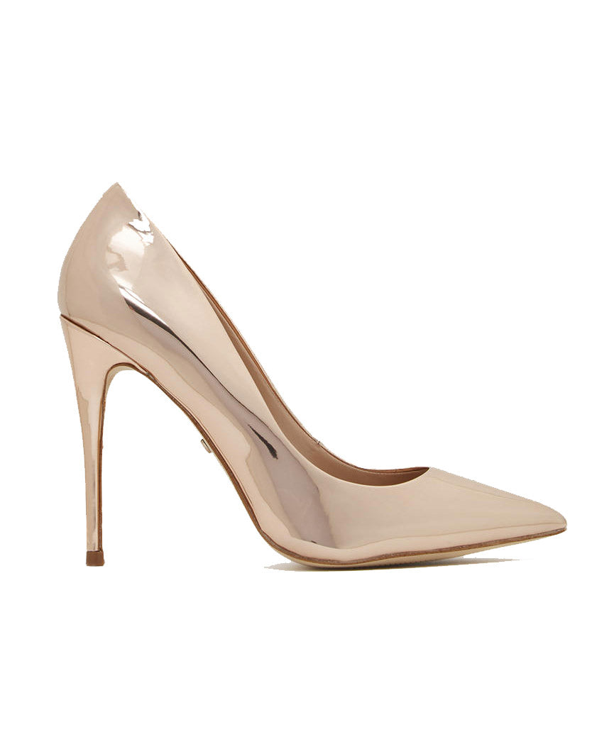 Rose Gold Glossy Pointy Toe Pumps