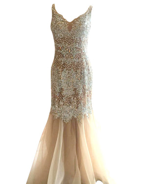 Crystal Beaded Mermaid Gown - Terani Couture - Covetella Dress Rentals