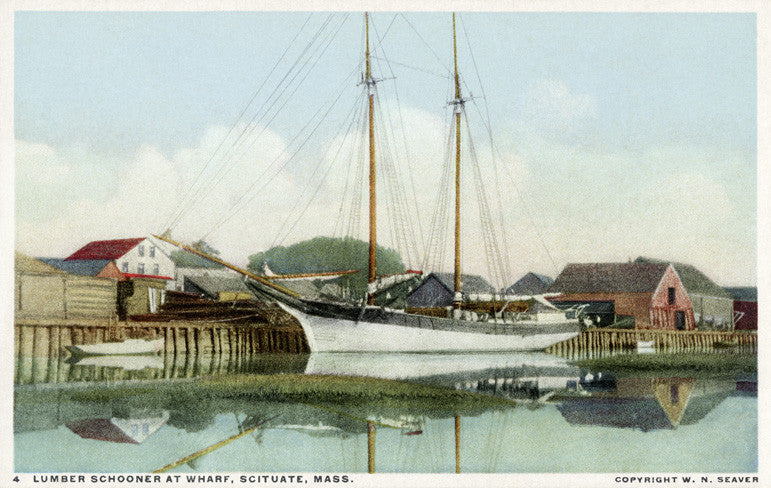 Scituate - Lumber Schooner at Mill Wharf - That Fabled Shore Home Decor