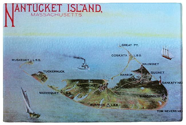 19th Century Nantucket As Colorful Tempered Glass Cutting Board - That Fabled Shore Home Decor