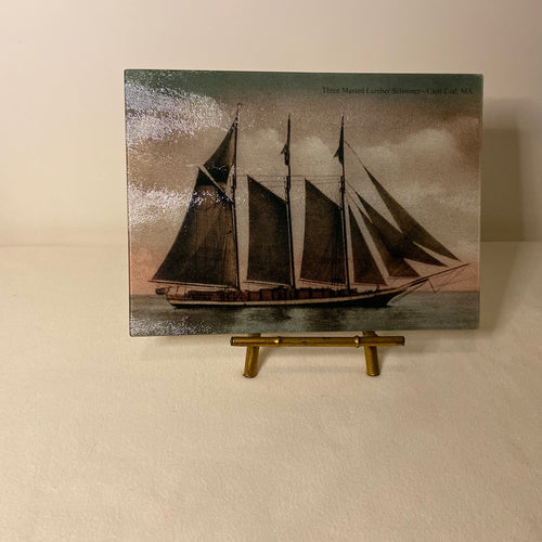 Three-Masted Cape Cod Lumber Schooner As A Colorful Tempered Glass Cutting Board - That Fabled Shore Home Decor