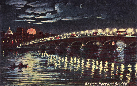 Harvard Bridge - Boston From Cambridge Night Light - That Fabled Shore Home Decor