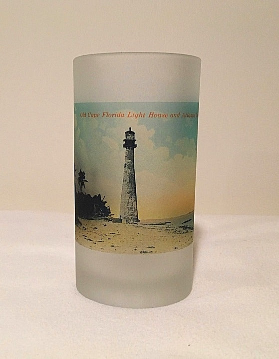 Colorful Frosted Glass Beer Mug Of Old Cape Florida Light Off Miami - That Fabled Shore Home Decor