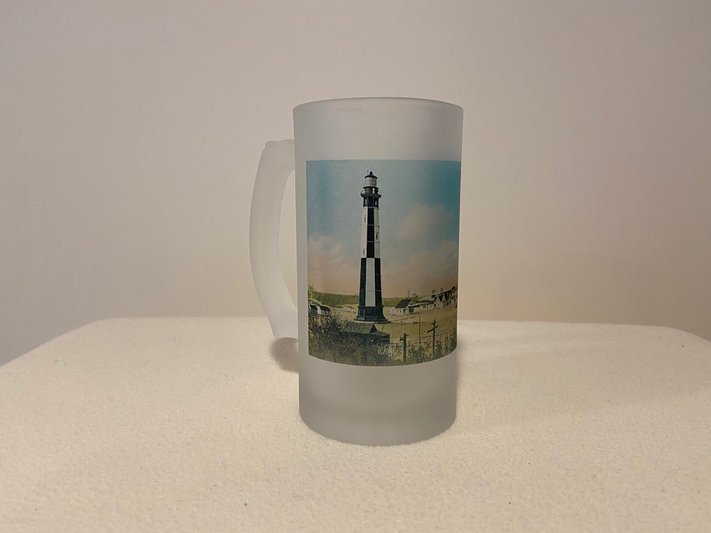 Colorful Frosted Glass Beer Mug of Cape Henry Light in Norfolk, Virginia - That Fabled Shore Home Decor