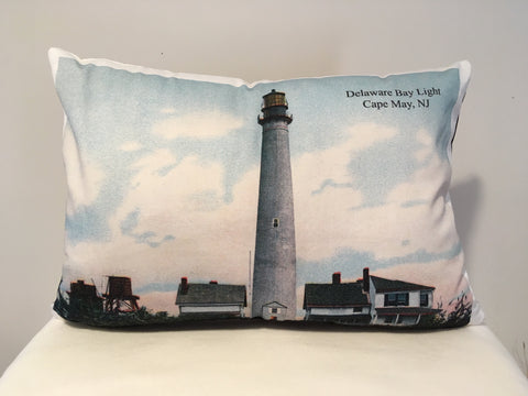 Cape May Lighthouse Day & Night Two-Sided Pillow - That Fabled Shore Home Decor