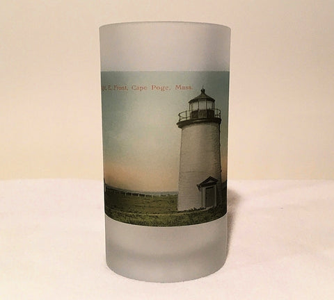 Colorful Frosted Glass Beer Mug of Cape Poge Lighthouse in Chappaquidick, MA - That Fabled Shore Home Decor