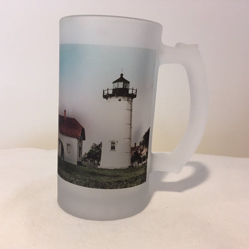 Colorful Frosted Glass Mug Of The Twin Lights of Chatham, MA - That Fabled Shore Home Decor