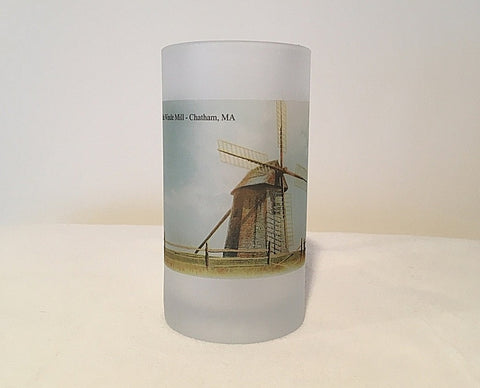 Colorful Frosted Glass Beer Mug of A Wind Mill in Chatham, MA - That Fabled Shore Home Decor