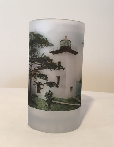 Colorful Frosted Glass Mug of Historic  Burgess Point Light in Beverly, MA - That Fabled Shore Home Decor