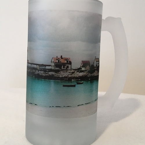 Colorful Frosted Glass Mug of Annisquam Light in Gloucester, MA - That Fabled Shore Home Decor