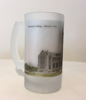 Boston College Frosted Glass Beer Mug Featuring Gasson Hall - That Fabled Shore Home Decor