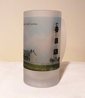 Colorful Frosted Glass Beer Mug Of North Carolina's Bodie Island Lighthouse - That Fabled Shore Home Decor