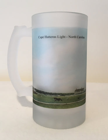 Colorful Frosted Glass Mug of Cape Hatteras Light in North Carolina - That Fabled Shore Home Decor