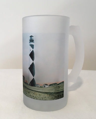 Colorful Frosted Glass Mug Of Cape Lookout Light in North Carolina - That Fabled Shore Home Decor