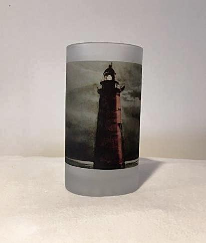 Colorful Frosted Glass Mug of Minot's Light At Night - That Fabled Shore Home Decor