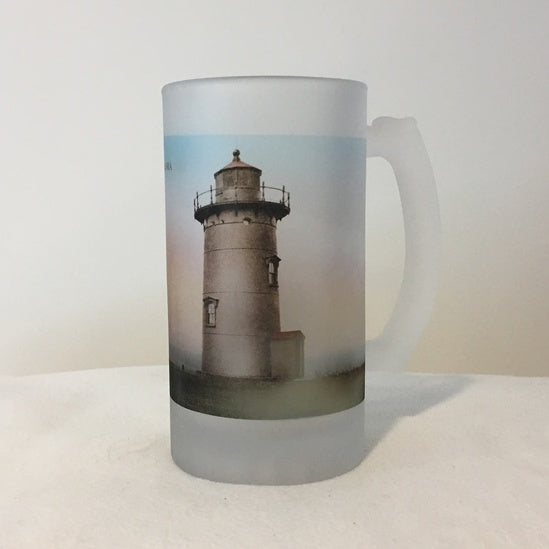 Colorful Frosted Glass Mug of East Chop Light in Oak Bluffs, MA - That Fabled Shore Home Decor
