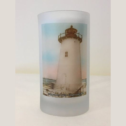 Colorful Frosted Glass Mug of Edgartown Light in Edgartown, MA. - That Fabled Shore Home Decor