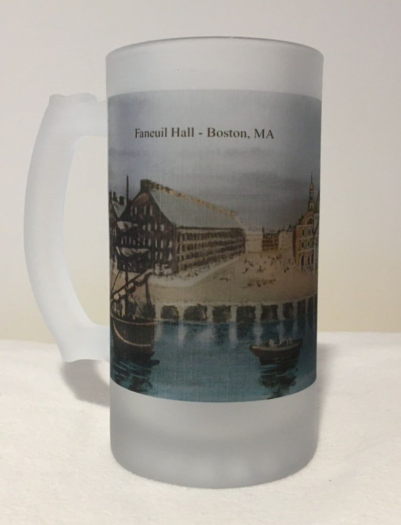 Colorful Frosted Glass Mug of Boston's Historic Faneuil Hall - That Fabled Shore Home Decor